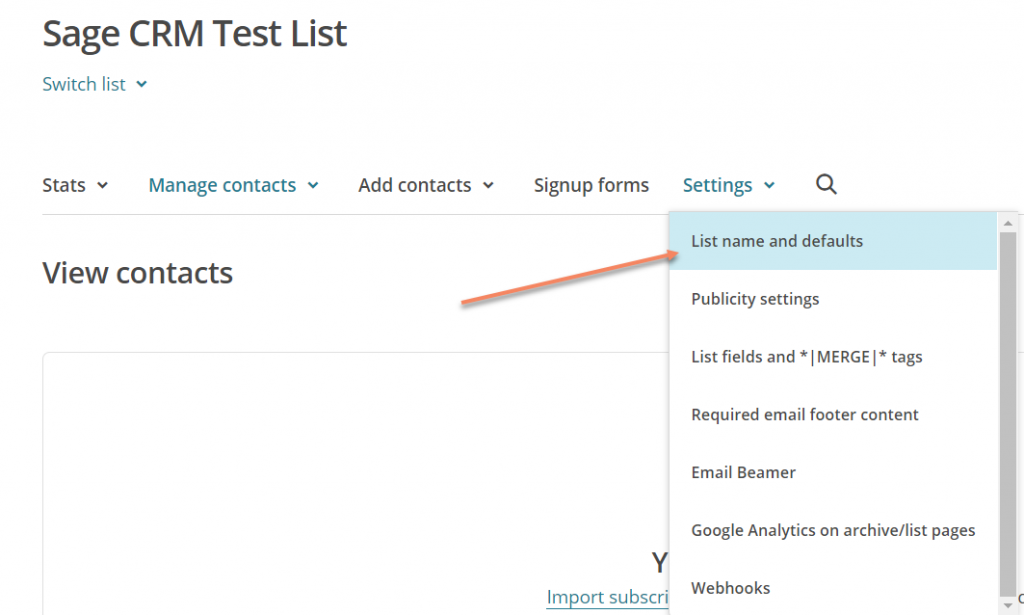 sage-crm-and-mailchimp-lists